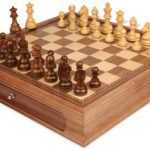 German Knight Staunton Chess Set in Golden Rosewood & Boxwood with Walnut Chess Case – 3.25″ King