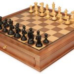 New Exclusive Staunton Chess Set in Ebonized Boxwood with Walnut Chess Case – 3″ King
