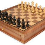 Parker Staunton Chess Set in Ebonized Boxwood with Walnut Chess Case – 3.25″ King