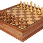 Parker Staunton Chess Set in Golden Rosewood & Boxwood with Walnut Chess Case – 3.25″ King