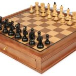Yugoslavia Staunton Chess Set in Ebonized Boxwood with Walnut Chess Case – 3.25″ King
