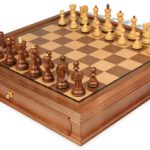 Yugoslavia Staunton Chess Set in Golden Rosewood & Boxwood with Walnut Chess Case – 3.25″ King