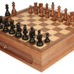 Yugoslavia Staunton Chess Set in Ebonized Boxwood & Golden Rosewood with Walnut Chess Case – 3.25″ King