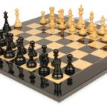 British Staunton Chess Set in Ebony & Boxwood with Black & Ash Burl Chess Board – 3″ King