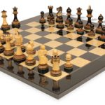 Parker Staunton Chess Set in Burnt Boxwood with Black Ash Burl Chess Board – 3.75″ King