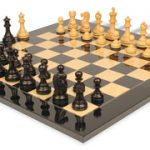 Deluxe Old Club Staunton Chess Set in Ebonized Boxwood & Boxwood with Black & Ash Burl Chess Board – 3.25″ King