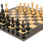 Dublin Antique Repro Chess Set in Ebony & Boxwood with Black & Ash Burl Chess Board – 4″ King