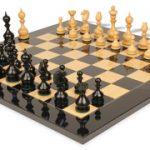 Dublin Antique Repro Chess Set in Ebony & Boxwood with Black & Ash Burl Chess Board – 4″ King