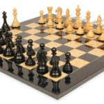 Fierce Knight Staunton Chess Set in Ebonized Boxwood & Boxwood with Black & Ash Burl Chess Board – 3.5″ King
