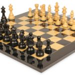 French Lardy Staunton Chess Set in Ebonized Boxwood & Boxwood with Black & Ash Burl Chess Board – 2.75″ King