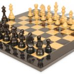 German Knight Staunton Chess Set in Ebonized Boxwood & Boxwood with Black & Ash Burl Chess Board – 3.25″ King