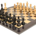 Wellington Staunton Chess Set in Ebony & Boxwood with Black & Ash Burl Chess Board – 4.25″ King