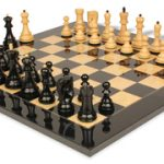 Yugoslavia Staunton Chess Set in Ebonized Boxwood & Boxwood with Black & Ash Burl Chess Board – 3.875″ King