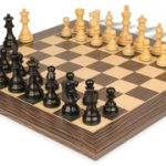 French Lardy Staunton Chess Set in Ebonized Boxwood with Tiger Ebony & Maple Deluxe Chess Board – 3.25″ King