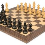 German Knight Staunton Chess Set in Ebonized Boxwood with Tiger Ebony & Maple Deluxe Chess Board- 3.25″ King