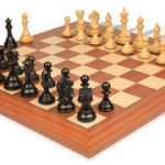 Fierce Knight Staunton Chess Set in Ebonized & Boxwood with Mahogany & Maple Deluxe Chess Board – 3.5″ King