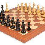 Fierce Knight Staunton Chess Set in Ebonized & Boxwood with Mahogany & Maple Deluxe Chess Board – 3.5″ King