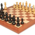 French Lardy Staunton Chess Set in Ebonized Boxwood & Boxwood with Mahogany & Maple Deluxe Chess Board – 3.25″ King