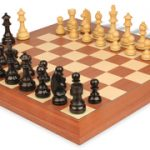 German Knight Staunton Chess Set in Ebonized Boxwood with Mahogany & Maple Deluxe Chess Board – 3.75″ King