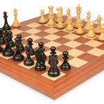 New Exclusive Staunton Chess Set in Ebonized Boxwood & Boxwood with Mahogany & Maple Deluxe Chess Board – 4″ King