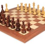 British Staunton Chess Set in Rosewood & Boxwood with Rosewood & Maple Delxue Chess Board – 4″ King