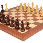 Deluxe Old Club Staunton Chess Set in Rosewood & Boxwood with Rosewood & Maple Deluxe Chess Board – 3.25″ King