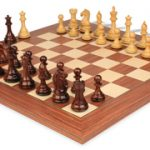 Fierce Knight Staunton Chess Set in Rosewood & Boxwood with Rosewood & Maple Deluxe Chess Board – 4″ King