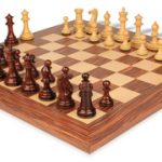 Grande Staunton Chess Set Rosewood & Boxwood with Rosewood & Maple Deluxe Chess Board – 4″ King