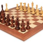 New Exclusive Staunton Chess Set Rosewood & Boxwood with Rosewood & Maple Deluxe Chess Board – 3″ King
