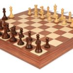 Players Staunton Chess Set in Rosewood & Boxwood with Rosewood & Maple Delxue Chess Board – 3.5″ King