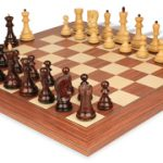 Yugoslavia Staunton Chess Set in Rosewood & Boxwood with Rosewood & Maple Deluxe Chess Board – 3.875″ King