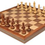 British Staunton Chess Set in Golden Rosewood & Boxwood with Walnut Folding Chess Case – 3″ King