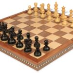 Deluxe Old Club Staunton Chess Set in Ebonized Boxwood with Walnut Folding Chess Case – 3.25″ King