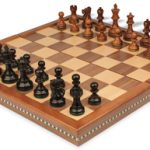 Deluxe Old Club Staunton Chess Set in Ebonized Boxwood & Golden Rosewood with Walnut Folding Chess Case – 3.25″ King