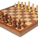 Deluxe Old Club Staunton Chess Set in Golden Rosewood & Boxwood with Walnut Folding Chess Case – 3.25″ King