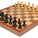 Fierce Knight Staunton Chess Set in Ebonized Boxwood with Walnut Folding Chess Case – 3″ King