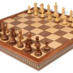 Fierce Knight Staunton Chess Set in Golden Rosewood & Boxwood with Walnut Folding Chess Case – 3″ King