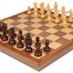 French Lardy Staunton Chess Set in Rosewood & Boxwood with Walnut Folding Chess Case – 3.25″ King