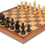 German Knight Staunton Chess Set in Ebonized Boxwood with Folding Chess Case – 3.25″ King