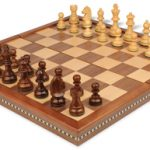 German Knight Staunton Chess Set in Golden Rosewood & Boxwood with Walnut Folding Chess Case – 3.25″ King