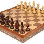 German Knight Staunton Chess Set in Rosewood & Boxwood with Walnut Folding Chess Case – 3.25″ King