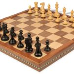 New Exclusive Staunton Chess Set in Ebonized Boxwood with Walnut Folding Chess Case – 3″ King