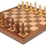 New Exclusive Staunton Chess Set in Golden Rosewood & Boxwood with Walnut Folding Chess Case – 3″ King