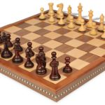 New Exclusive Staunton Chess Set in Rosewood & Boxwood with Walnut Folding Chess Case – 3″ King