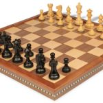 Parker Staunton Chess Set in Ebonized Boxwood with Walnut Folding Chess Case – 3.25″ King