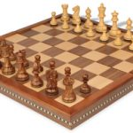 Parker Staunton Chess Set in Golden Rosewood & Boxwood with Walnut Folding Chess Case – 3.25″ King