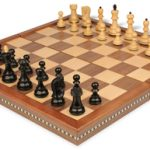 Yugoslavia Staunton Chess Set in Ebonized Boxwood with Walnut Folding Chess Case – 3.25″ King