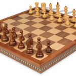 Yugoslavia Staunton Chess Set in Golden Rosewood & Boxwood with Walnut Folding Chess Case – 3.25″ King