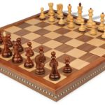 Yugoslavia Staunton Chess Set in Rosewood & Boxwood with Walnut Folding Chess Case – 3.25″ King