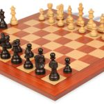 French Lardy Staunton Chess Set in Ebonized Boxwood with Standard Mahogany Chess Board – 2.75″ King